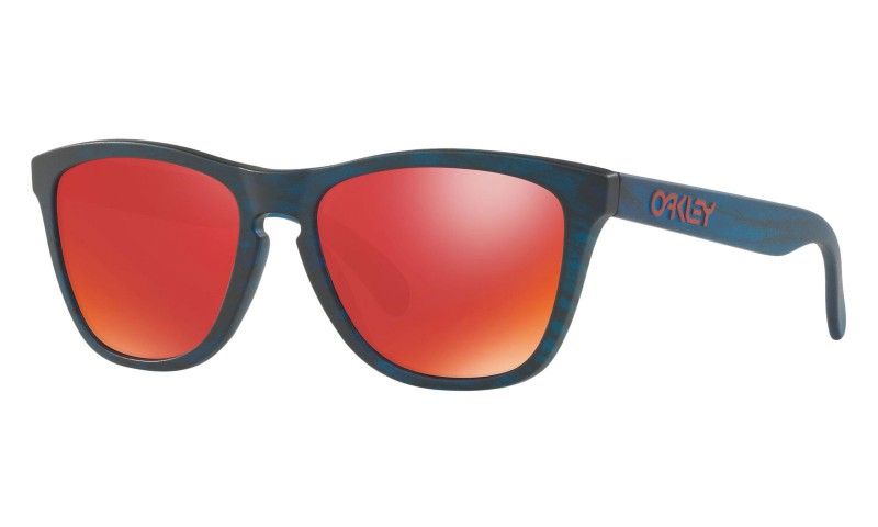 Oakley Frogskins Driftwood Collection Matte Blue Woodgrain + Torch Irid OO9013-B555