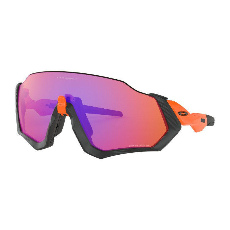 Oakley Flight Jacket Matte Black/Neon Orange / Prizm Trail - OO9401-0437