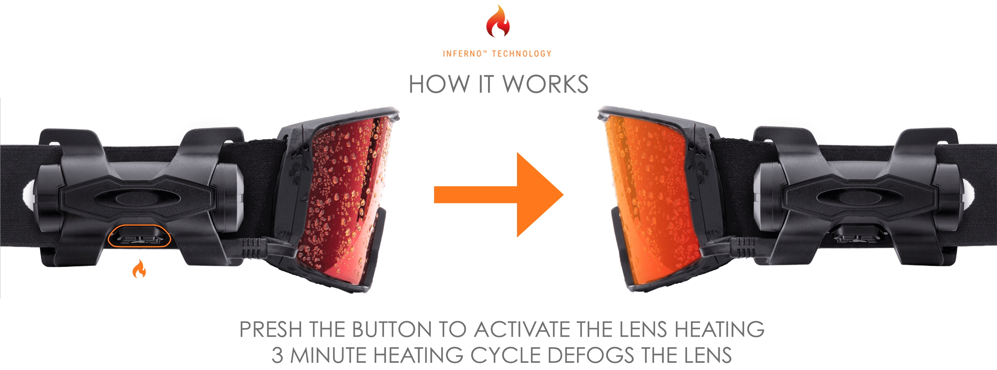 Oakley Inferno Technology, defogs the lens of your goggle